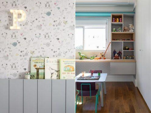 quarto infantil com papel de parede e cantinho para estudo